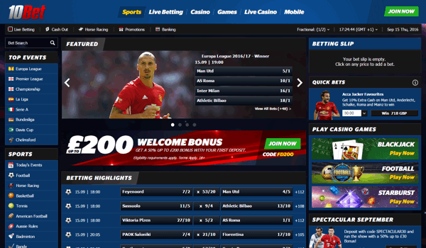 10Bet Sports Screenshot