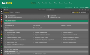 Bet365 Football Screenshot