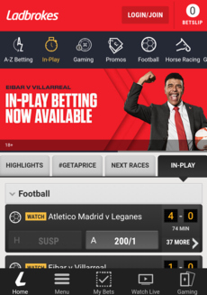 Ladbrokes Mobile Football Screenshot