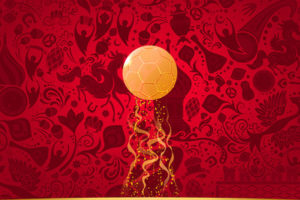 World Cup 2018 Gold Football on Red Patterned Background