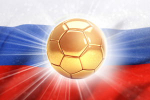 Russian Flag and Golden Football