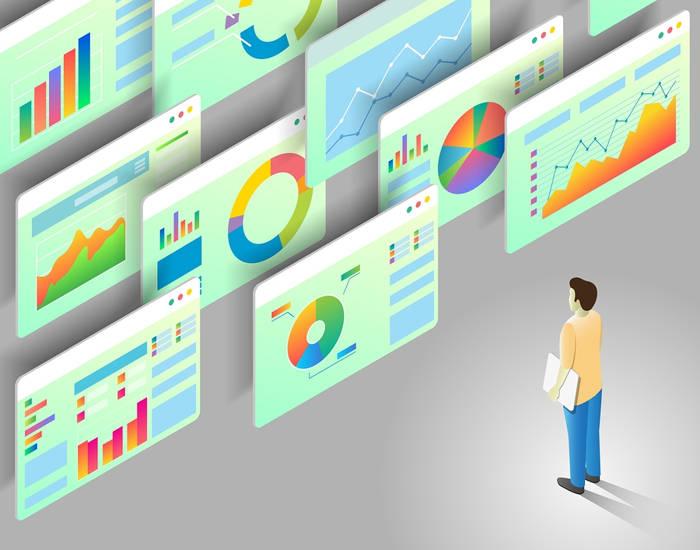 Cartoon Man Looking at Data