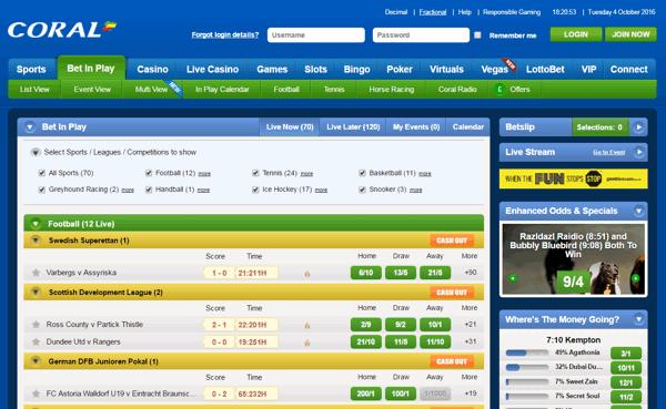 Coral Live Betting Screenshot