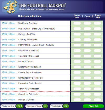 Coral Football Jackpot (With Postponed Games)