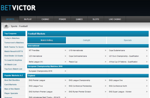BetVictor Football Screenshot