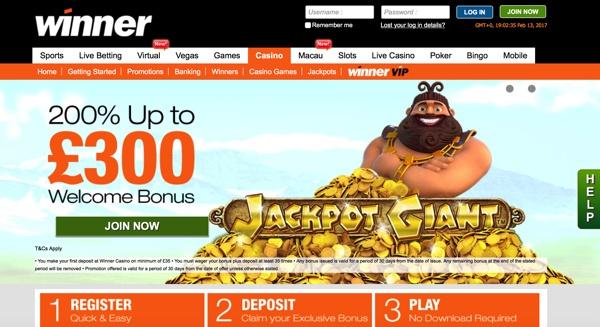 Winner Casino Screenshot