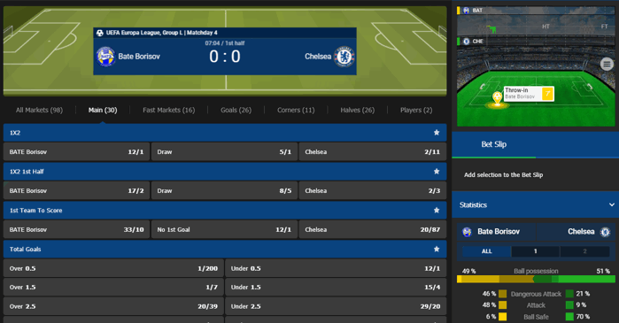 Live Betting at 10Bet