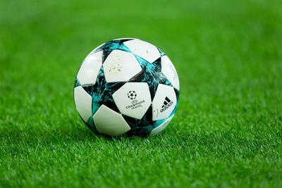 Champions League Match Ball on Pitch