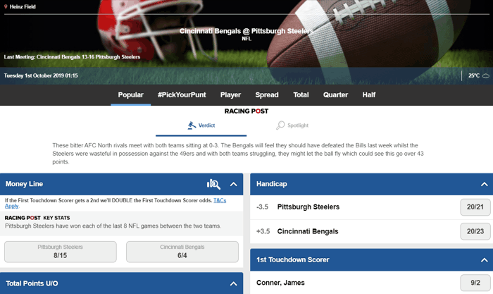 Betfred American Football Betting