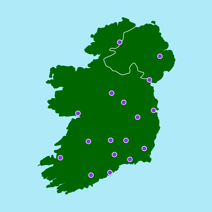 Irish Dog Tracks Map