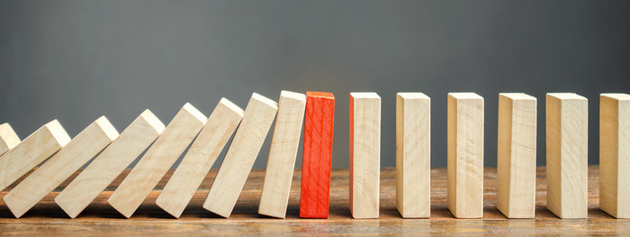 Wooden Block Dominos with One Red Block
