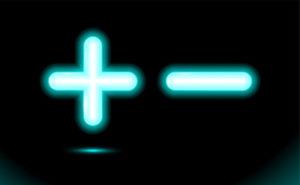 Neon Plus and Minus Symbols