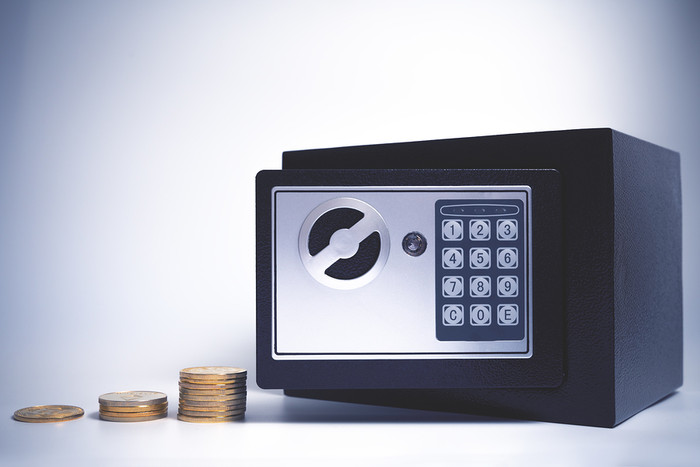 Safe with Coin Stacks