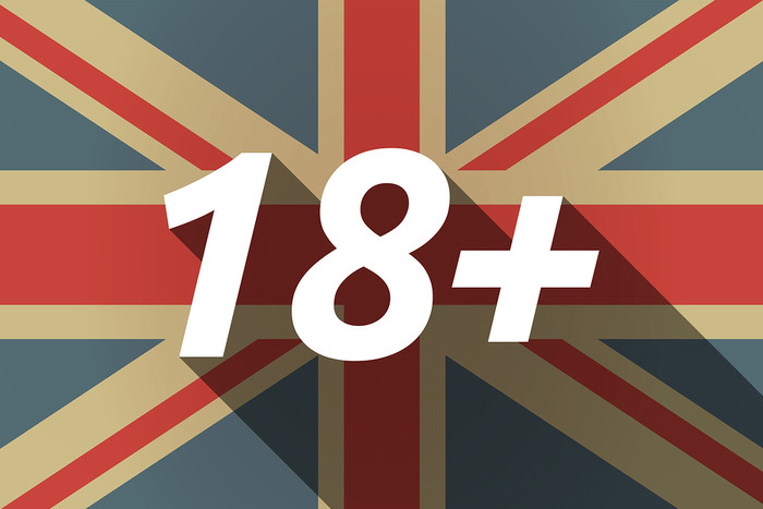 UK Flag Showing 18 Plus