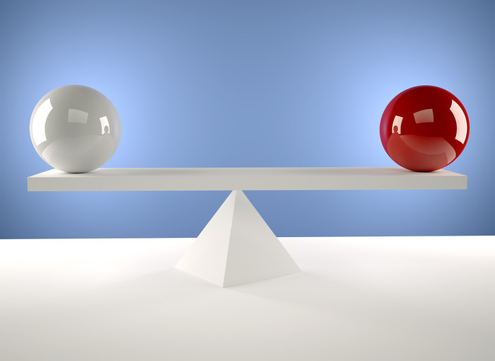 White and Red Spheres Balancing