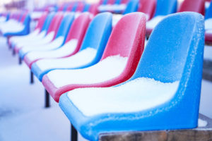 Snow Covered Stadium Seats