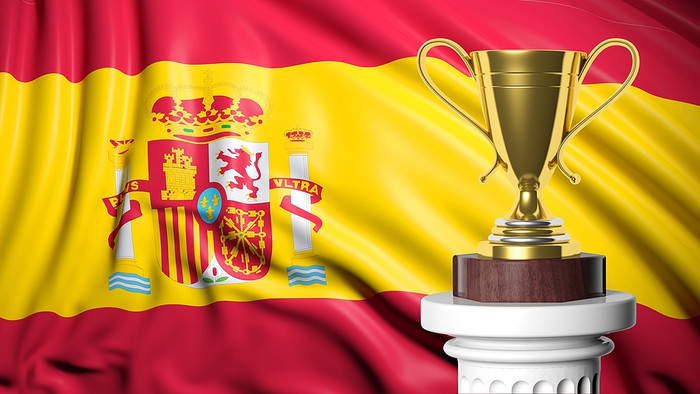 Spain Flag and Golden Trophy