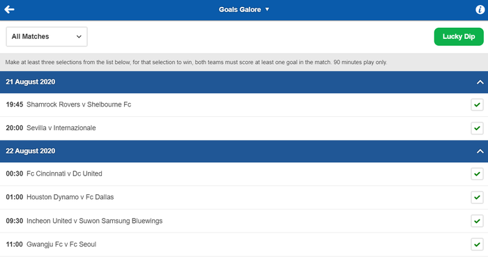 Betfred Goals Galore Screenshot