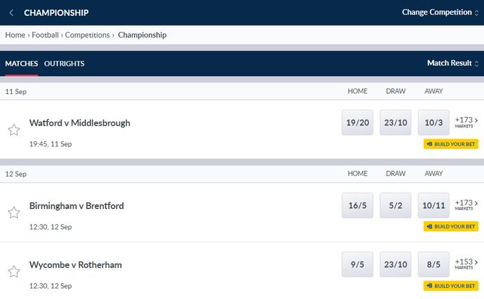 Coral Championship Betting Screenshot