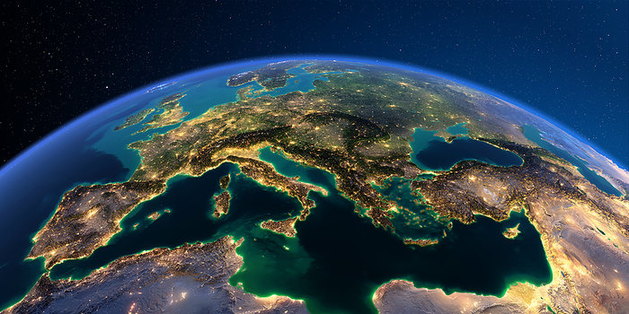 Europe City Lights from Space