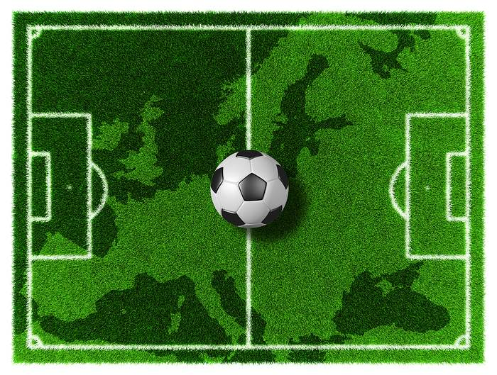 Europe Map on Football Pitch