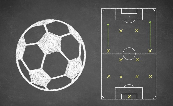 Football Formation on a Chalkboard