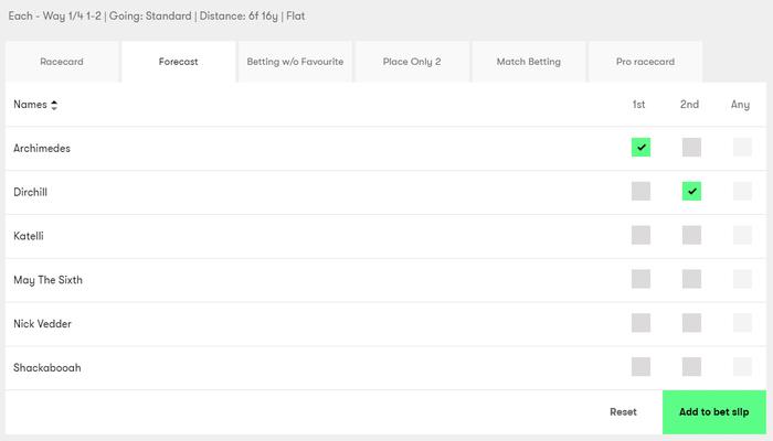 10bet Horse Racing Forecast Betting Screenshot