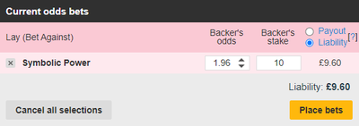 Betfair Lay Bet Screenshot
