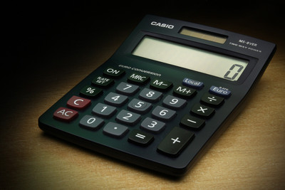 Black Calculator on Desk
