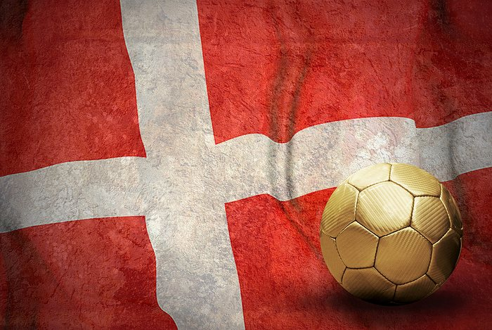 Denmark Flag and Gold Football
