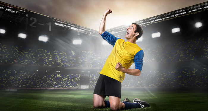 Football Player in Yellow Celebrating