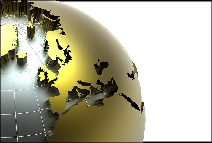 Gold 3D Globe Centred on Europe