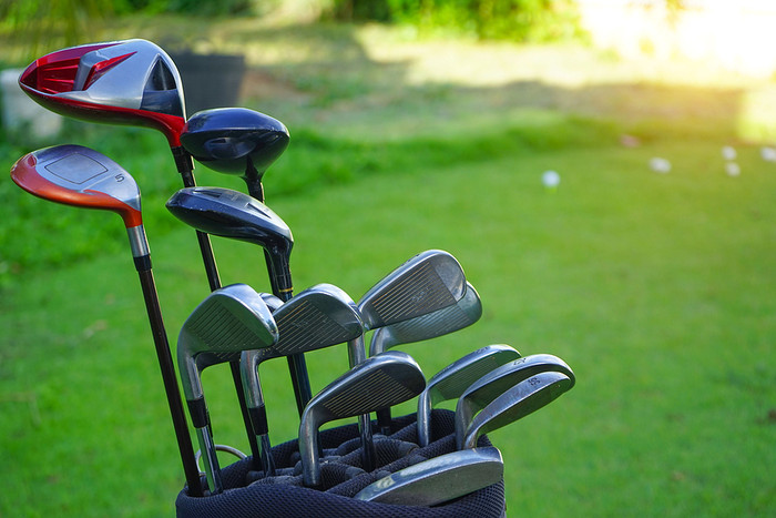 Golf Bag and Set of Different Clubs