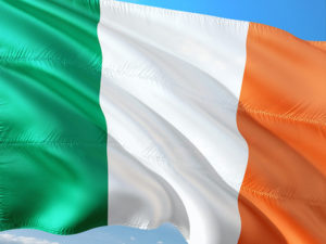 Irish Fabric Flag Against a Blue Sky