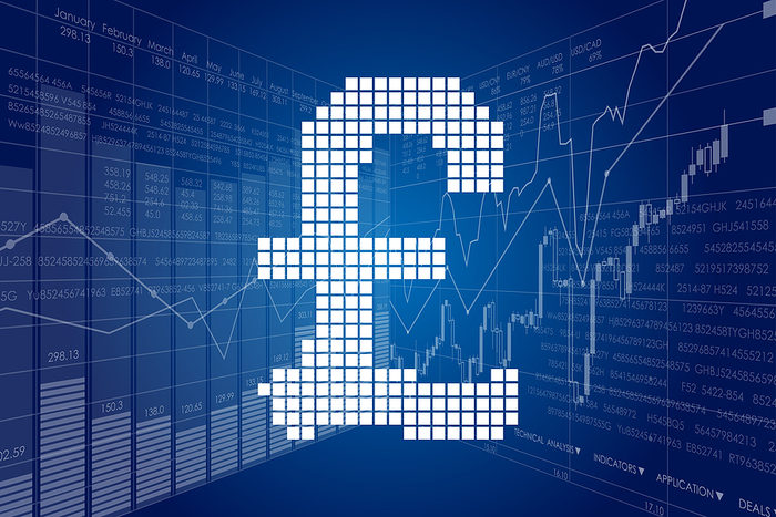 Pound Sign Against Financial Charts