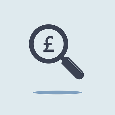 Pound Sign Under Magnifying Glass Icon