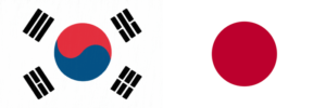 South Korea and Japan Flags