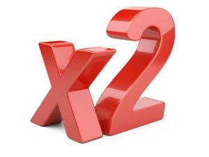 Red Three Dimensional X2