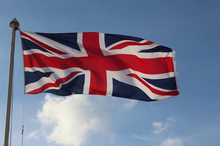 UK Flag Against Blue Sky