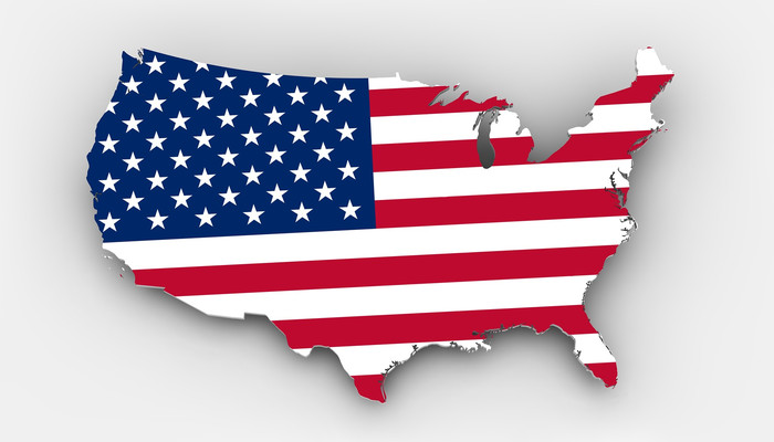USA Flag on Map of Country