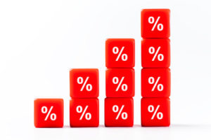 Red Stacked Percentage Cubes