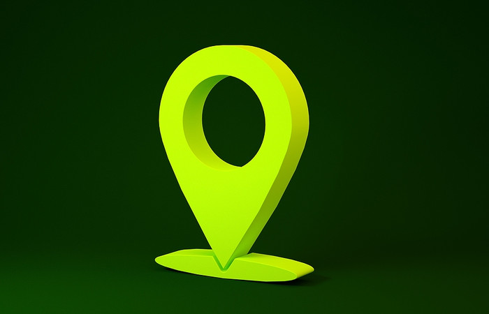 3D Map Pin Against Green Background