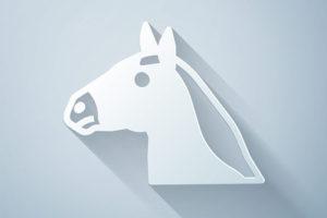 Horse Head Icon Grey Background