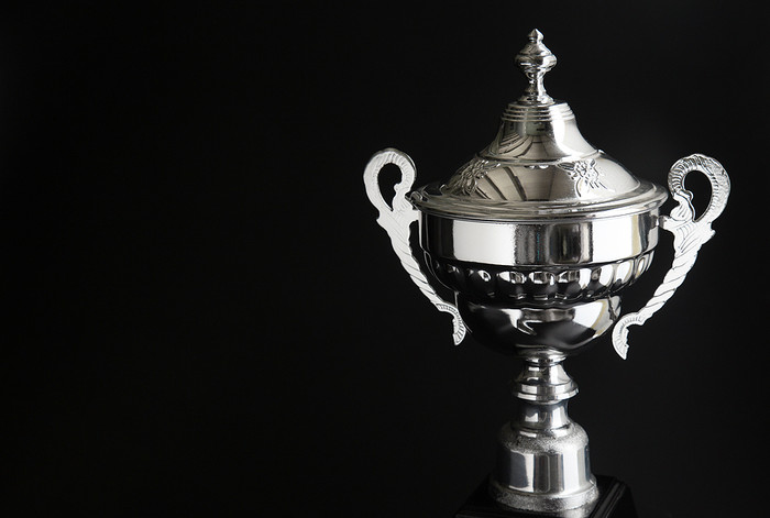 Silver Trophy Against Black Background
