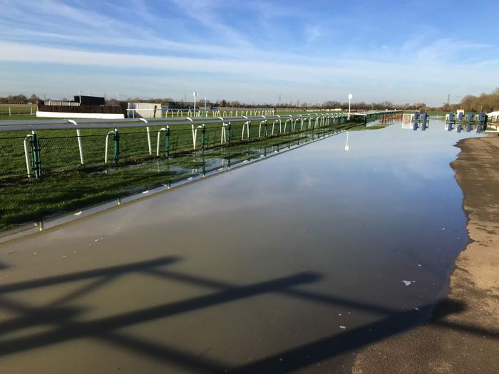 A flooded Huntingdon Racecourse