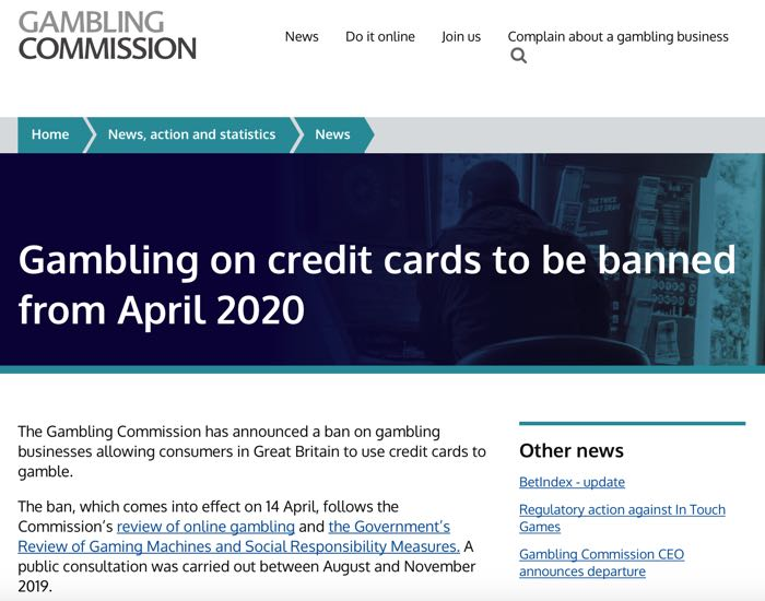 Gambling Commission ban on credit cards