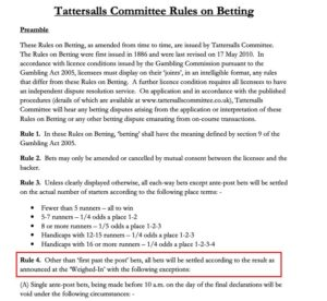 Tattersalls Committee Rules on Betting document