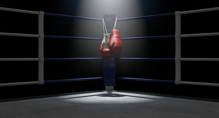 Boxing Gloves Hung Up On Corner