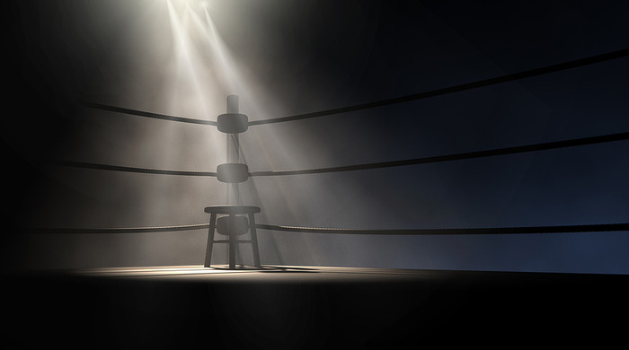 Boxing Ring Stool Under Spotlight