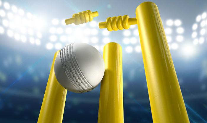 Cricket White Ball Hitting Yellow Stumps